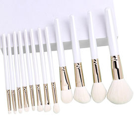 White Retractable Brush For Loose Powder Foundation Wool / Customized Heads